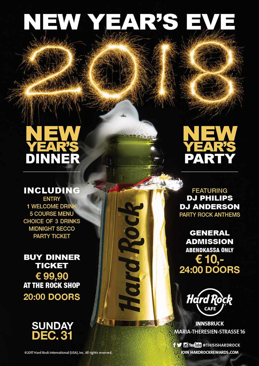 kulinarium-austria: new years eve, hard rock cafe innsbruck