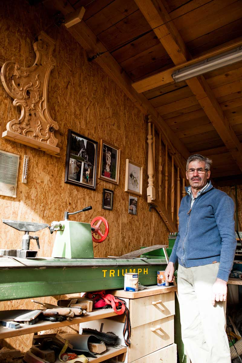 Pepi Kienzner in seiner Werkstatt